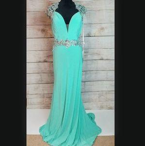 NEW Aqua blue sheer beaded prom dress gown 1012